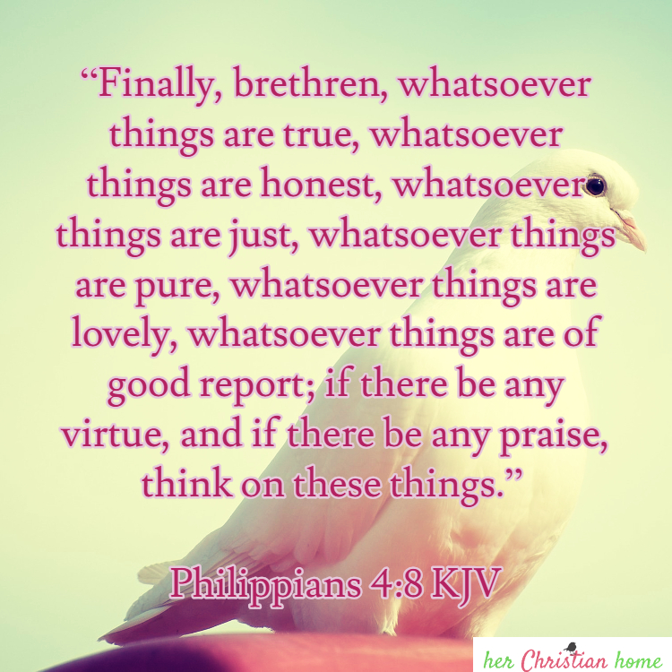 Philippians 4:8 KJV Think on these things