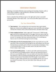 Minimalism Checklist - ecover
