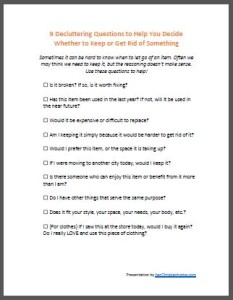 decluttering questions checklist - ecover