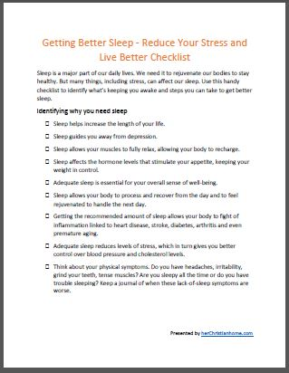getting better sleep checklist - ecover
