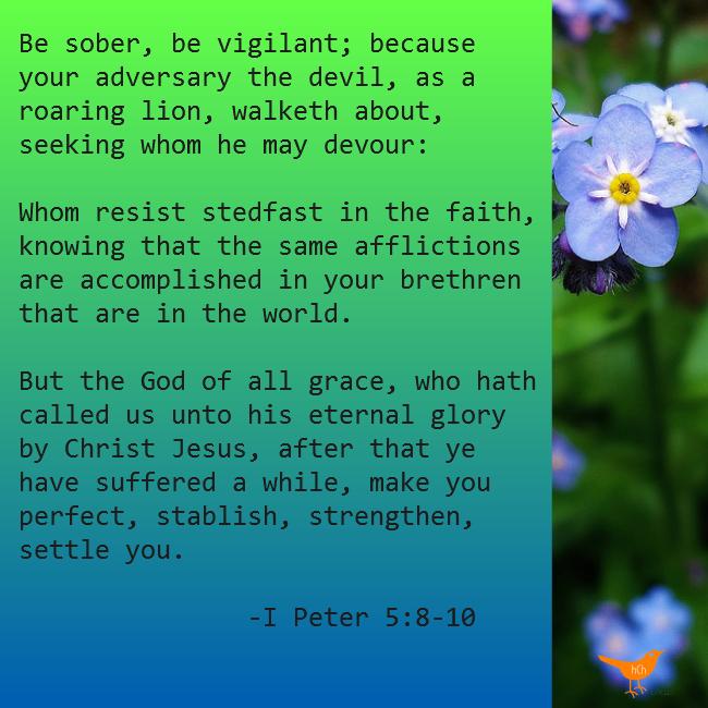 Be Sober be vigilant I Peter 5 10