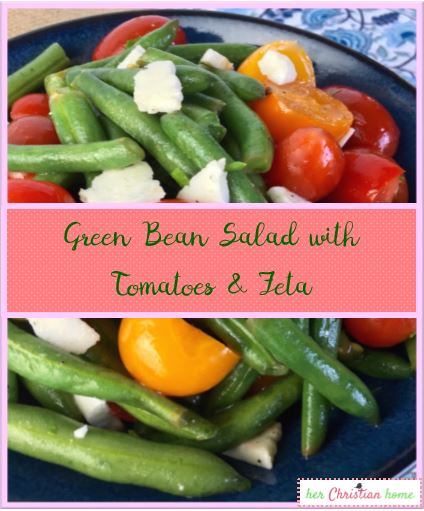 Green Bean Salad with Tomatoes & Feta #veggierecipes #greenbeanrecipes #cleaneatingrecipes