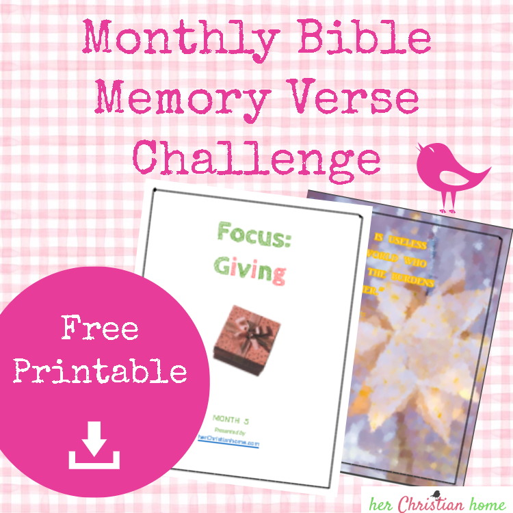 Monthly Bible Memory Verse Challenge – Month 5 – Giving