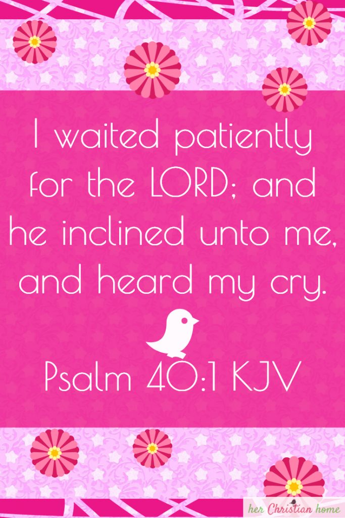 Psalm 40:1 KJV I waited patiently for the Lord #Psalm #bibleverses #kjv