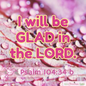 I will be glad in the Lord Psalm 104:34 b KJV