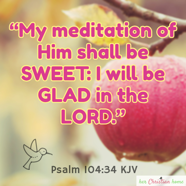My meditation of him shall be sweet Psalm 104:34 kjv