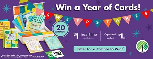 Greeting card sweepstakes and $100 dollar tree gift card giveawy